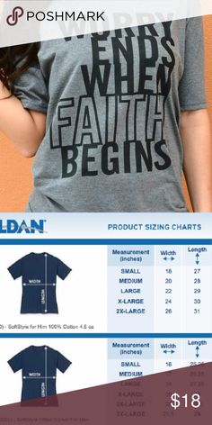 Worry Ends When Faith Begins T-Shirt *Heather Grey Adult Sizes: S / M / L / XL  Ladies Tees  Ladies Tees are a contoured Junior Fit with cap style sleeves.  The Ladies style fits close to your body.  If you would like a less fitted appearance I would suggest ordering one size up. T-Shirt Addicts Tops Tees - Short Sleeve