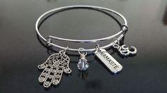 Hamsa Namaste Yoga Bracelet,  Bangle Bracelet Silver Bangle Charm Bracelet #Handmade