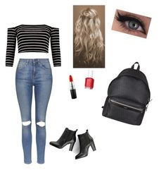 """""""Untitled #23"""" by ainsleeo on Polyvore featuring Topshop, SWEET MANGO, Yves Saint Laurent, MAC Cosmetics and Essie"""