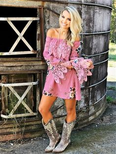"""The WAIT IS OVER! Our """"The Madelene"""" Tunic Dress is PERFECTLY paired with over the knee boots for date night or a night out with your girls! Dress the look down with leggings and booties! True to size, unlined. Cowgirl Dresses With Boots, Cute Cowgirl Outfits, Preppy Outfits, Dress With Boots, Cute Outfits, Cowboy Boots, Country Style Outfits, Country Dresses, Country Fashion"""