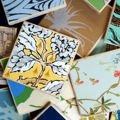 Follow this easy tutorial for making your own coasters using stone tiles and wallpaper samples. Great for gifts!