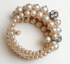 Faux Pearl and Rhinestone Memory Wire Bracelet
