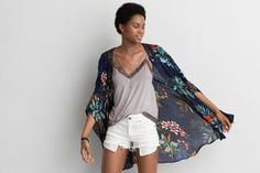 AEO Floral Poncho by American Eagle Outfitters   Go with the flow in a fresh floral made for warm weather. Shop the AEO Floral Poncho and check out more at AE.com.