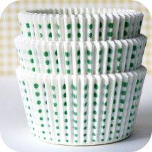 Green Polka Dot Cupcake Liners