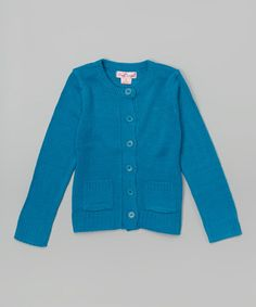 Look what I found on #zulily! Teal Climate Crewneck Cardigan - Girls #zulilyfinds