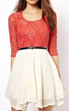 Color Block Half Sleeve Lace Splicing Dress