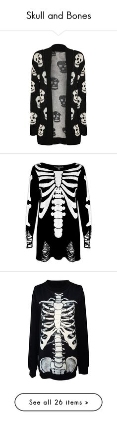 """""""Skull and Bones"""" by night-freak ❤ liked on Polyvore featuring tops, cardigans, jackets, outerwear, sweaters, black, skull cardigan, long sleeve cardigan, black skull cardigan and black long sleeve top"""
