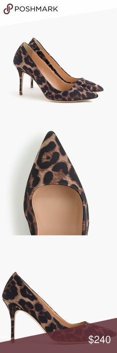 """J.CREW ELSIE LEOPARD PUMPS NWT, With a just-right height and a perfectly pointed toe, Elsie pumps are classic and special at the same time. Crafted entirely in Italy, this satin pair comes in a work and weekend-appropriate leopard print.  Cotton/poly upper. Leather lining. Made in Italy. 3 5/8"""" heel. J. Crew Shoes Heels"""