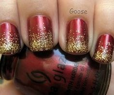 red and gold nails. I might do these nails for my aunt