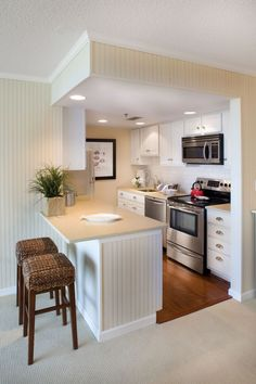 Apartment Kitchen Renovation Ideas - Small But Perfect For This Beach Front Condo Kitchen Designed By Jennifer S Small Space Kitchen Renovation The Big Reveal With Small Kitchen Remodel C. Kitchen Interior, New Kitchen, Interior Paint, Kitchen Small, Apartment Interior, Compact Kitchen, Room Kitchen, Kitchen Tables, Kitchen White