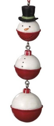 snowman ornament made out of bobbers!