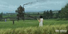 """""""Iron Harvest: 1920+"""" RTS game illustrations by Jakub Rozalski (Mr. Werewolf) """"Bizarre Paintings Of Mecha Robots And Werewolves Attacking East European Peasants Of The Early 20th Century"""" """"alternate history WWI"""" http://iron-harvest.com/"""