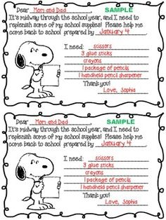Charlie Brown Thanksgiving Parent Letter