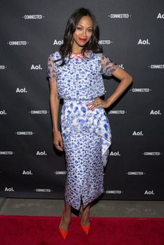 Pin for Later: Emma Roberts Makes Spring Dressing Look Easy Zoe Saldana Zoe Saldana at the AOL NewFront event.