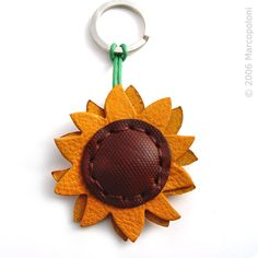 Sunflower Leather Key Chain, Girasole - Handmade in Italy accessories handcrafted GIRASOLE - Sunflower Italian Leather Key Chain Leather Keyring, Leather Gifts, Leather Earrings, Leather Jewelry, Handmade Leather, Leather Bags, Leather Accessories, Handmade Accessories, Leather Scraps