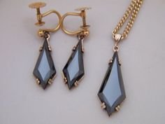 10K Gold Vintage Black Alaskan Diamond Hematite by AntiqueLockets, $300.00 #gvsteam #vintage #jewelry