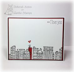 Hambo Stamps rubber image Skyline and 'I Love you mower' sentiment by Deborah Anton