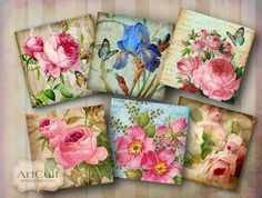 SHABBY CHARM  Digital Collage Sheet 2.3 inch Printable by ArtCult, $4.60