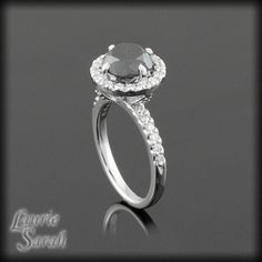 Fang Prong Black Diamond Engagement Ring with Diamond Halo - LS1218