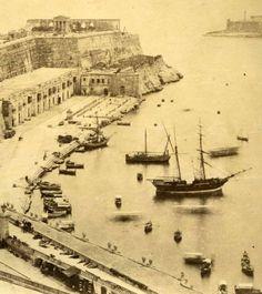 Valletta Malta port scene showing idle men on rooftop circa 1870s