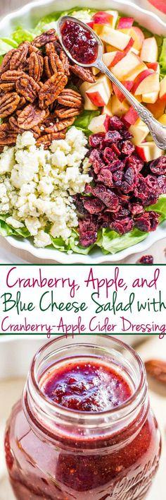 Cranberry, Apple, and Blue Cheese Salad with Cranberry-Apple Cider Dressing - All the flavors of fall in one gorgeous, hearty, and healthy salad!! The easy, tart-and-sweet dressing is just bursting with flavor!!