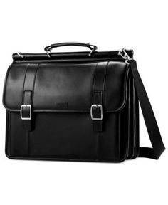 Samsonite Leather Dowel Flapover Laptop Briefcase - Black