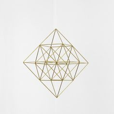 Brass Himmeli Diamond / Modern Hanging Mobile / Geometric Sculpture / Minimalist Home Decor