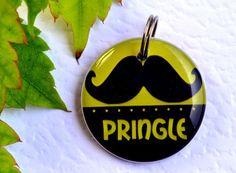 Pet Tags Moustache Circle Tags