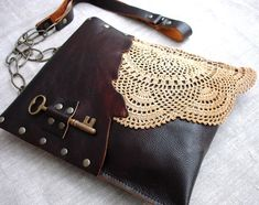 Leather Box, Leather And Lace, Lace Bag, Black Square, Purses, Diy Bags, Handmade, Totes, Wallets