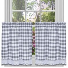 Achim Buffalo Check Black Polyester-Cotton Light Filtering Rod Pocket Curtain Tier Pair at Lowe's. Buffalo Check - the charming allover check pattern comes to life in a stunning window curtain tier pair. Give your home some extra style and privacy by White Kitchen Curtains, Gingham Curtains, Kitchen Valances, Tier Curtains, Kitchen Curtain Sets, Rod Pocket Curtains, Cafe Curtains, Window Curtains, Curtain Panels