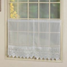Light filters beautifully through the United Curtain Valerie Voile and Macrame Kitchen Tier . This sheer polyester voile kitchen tier is graced with. Wide Curtains, Panel Curtains, Kitchen Curtain Sets, Kitchen Curtains, Wooden House Design, Modern Cafe, Wooden Stools, My Living Room, The Unit