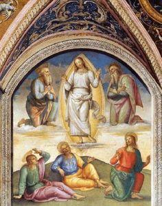 The Transfiguration of Christ - Pietro Perugino.  1497-1500.  Fresco.  226 x 229 cm.  Collegio del Cambio, Perugia, Italy.
