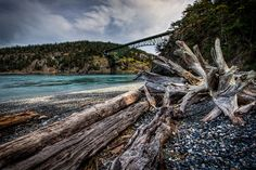 Deception Pass Bridge Whidbey Island as viewed from Rosario Beach