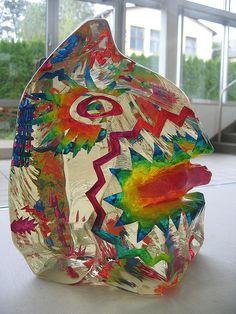 Czeslaw Zuber's glass sculpture. #art #glass #sculpture Mosaic Glass, Fused Glass, Stained Glass, Art Of Glass, Glass Wall Art, Glass Design, Design Art, Vases, Statues