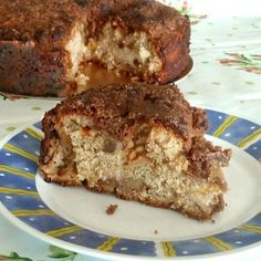 Apricot Yeast Coffee Cake  with nuts and krispy topping