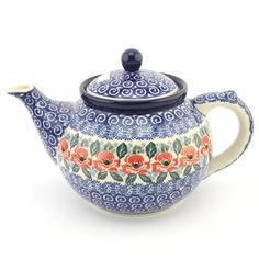 Teapot - Polish pottery - This beautiful hand decorated ceramic tea pot can be used in dishwasher, microwave and oven every day. - Tato krásná keramická konvice se stane ozdobou každého stolu. Veškerá naše karamika je vhodná pro denní používání v myčkách, mikrovlnných i pečících troubách. Každý jednotlivý výrobek je odekorován ručně pod glazuru zkušenou umělkyní. Proto je každý náš výrobek originál.
