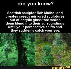 Did you know? Scottish sculptor Rob Mulholland creates creepy mirrored sculptures out of acrylic glass that makes them blend into their surroundings until your perspective shifts and they suddenly catch your eye. Psychology Memes, Colleges For Psychology, Creepy Facts, Wtf Fun Facts, Creepy Stories, Horror Stories, The More You Know, Did You Know, Creepy History