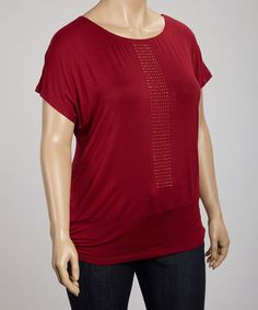 Take a look at this Wine Sequin Scoop Neck Top - Plus by Wrapper on #zulily today!