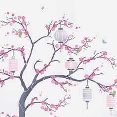 Japanese Cherry Blossom Sakura and lanterns Nursery Tree Stencil Pack – all the stencils you need to create a beautiful painted wall mural Japanese Cherry Tree, Japanese Blossom, Blossom Tree Tattoo, Blossom Trees, Tattoo Tree, Tree Drawing Wallpaper, Wall Drawing, Cherry Blossom Drawing, Cherry Blossom Quotes