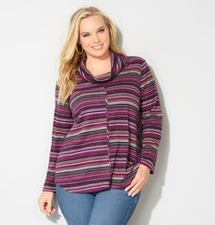 Shop beautiful striped cowlnecks for colder weather like the plus size Cowlneck Striped Top available online at avenue.com. Avenue Store