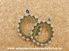 Hoop earring with crystals - peyote stitch.  Beginner project. Step by step pix ~ Seed Bead Tutorials