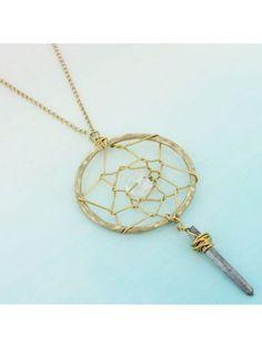 Goldtone with Silver Stone Dream Catcher Pendant Necklace #0094N-WG-SL | eWAM