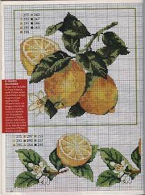 Punto de Cruz GRATIS: Limones y Limoneros