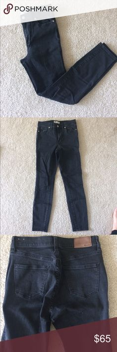 Madewell Black denim jeans Madewell high waisted black denim jeans. Slightly faded look - moonlight wash. Slightly stretchy and super comfortable. Madewell Jeans Skinny