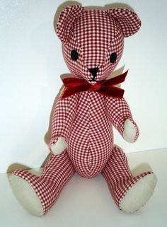 Sweet red and white gingham teddy bear