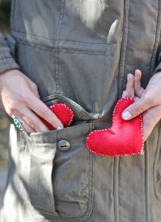 felt heart shaped hand warmers filled with rice and lavender