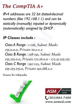 CompTIA A+ Training / Tip - IP Classes .For more information to get certified for Microsoft, CompTIA A+, Network+, Security+ and Cisco CCNA, CCNP   please go to http://www.asmed.com/information-technology-it/