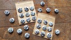 "9 Handmade Kawaii Fabric-Covered ""Neko Neko"" Sewing Button Set(Cats) by niconecozakkaya on Etsy"