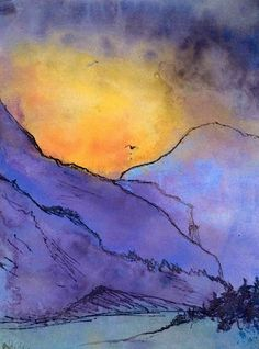 Emil Nolde (German, Violette Berglandschaft [Violet Mountain Landscape], c. Watercolor and pen and ink on Japan paper, Emil Nolde, Wow Art, Landscape Paintings, Watercolor Art, Modern Art, Art Photography, Abstract Art, Art Gallery, Illustration Art