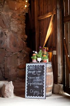 Chalkboard menu for your wedding day    Photography By / http://mibelleinc.com,Floral Design By / http://aprilflowersslo.com